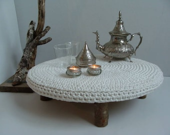 End table with crocheted zpagetti sheet and wooden trunks
