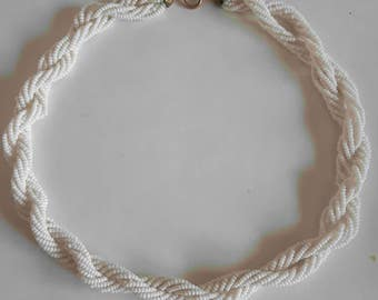 White Bead Multi Strand Twist Necklace with Gold Tone Clasp
