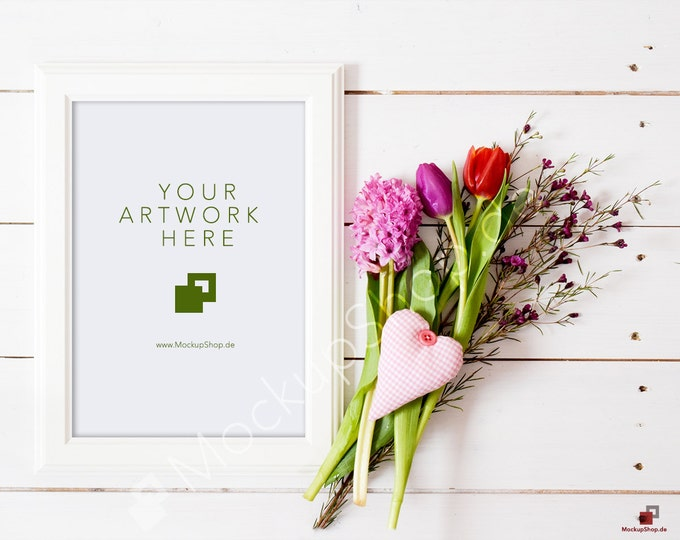 FLOWER FRAME MOCKUP vertical frame / spring flowers / valentines day / white empty frame mockup / flower frame mockup / vertical frame
