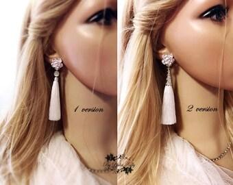 Bohemian Tassel Earrings, White Tassel Earrings, White Dangle Earrings,Silk Tassel Earrings, Fringe Earrings,Wedding Earrings, Boho Earrings