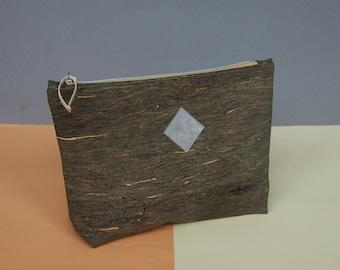 cork leather clutch, cosmetic bag black, vegan bag, bag black, cork, black, make up bag, clutch for men, allblack bag