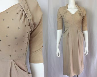 Xs/small ** 1940s RHINESTONE beige rayon crepe pocket dress ** vintage forties nude evening dress