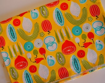 Sewing cotton canvas fabric--folk art fruit pattern