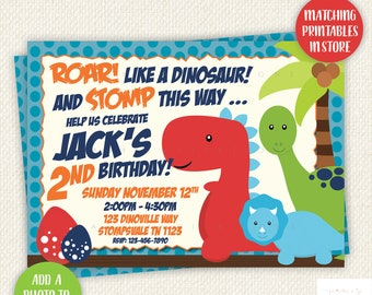 Dinosaur Birthday Invitation, Dino Party, Printables, Stomp Chomp Roar, invite, Digital, personalised