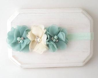 Pastel Mint Headband - Mint Baby Headband - Mint and Ivory Newborn Headband - Mint Cake Smash - Easter Headband - Mint Headband - Ivory Bows