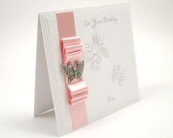 Butterfly Birthday Card / Luxury Handmade Birthday Card / Personalisable / Choice of Colours / Made to Order / Mother's Day Card
