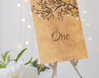 Rustic Wedding Table Numbers // Branches & Lanterns // Antique Table Numbers // Poplar Collection // Elle Bee Design