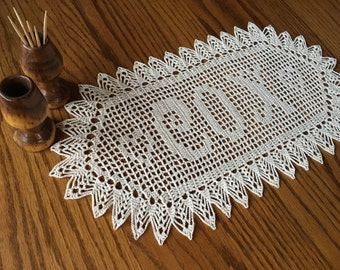 Personalized Crochet Wedding Gift, Crochet Name Doily, Unique Wedding Gift, Crochet Wall Art, Last Name Doily, Cotton Anniversary Gift