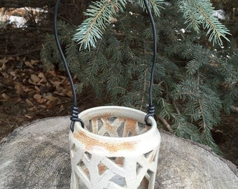 Soda Fired Ceramic lantern, pottery candle holder, hand carved stoneware, brown / grey / natural