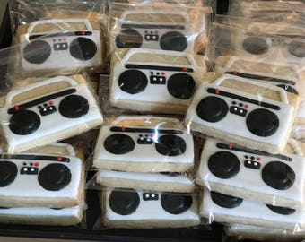 80's HIP HOP inspired vanilla sugar cookies (12 - 1 dozen) RETRO birthday party - disco - boom box - radio vinyl disc-old school party - ret