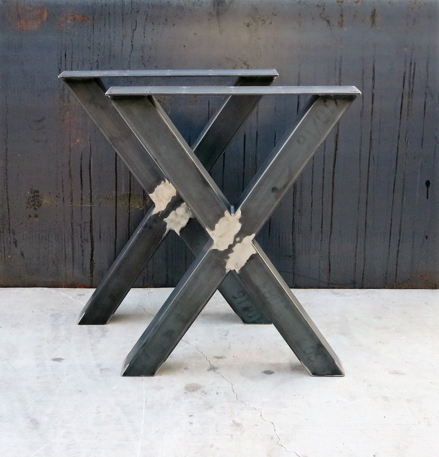 industrial x shape metal table legs 3x3. Black Bedroom Furniture Sets. Home Design Ideas