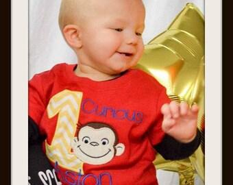 Curious George birthday Shirt or bodysuit-Baby, Toddler, Shirt.