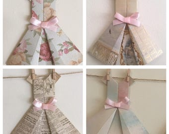 Vintage Style Paper Dress Bunting Garland- Shabby Chic, Nursery and girl's bedroom decor, Wall Hanging.