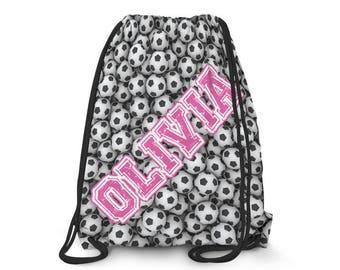 Personalized Soccer Drawstring Bag // Personalized Drawstring Backpack // Sling Backpack // Sports Drawstring Bag // 1035