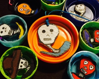SALE 8 Dia de Los Muertos Christmas Ornaments--some small as nickles! 100 Percent Upcycled FREE SHIPPING