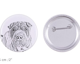 Buttons with a dog - Shar Pei