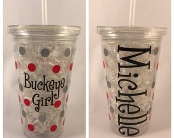 Buckeye Girl Personalized 16oz Acrylic Tumbler