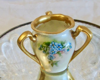 Hand Painted Forget Me Not Toothpick Holder, Miniature Bud Vase, Bobby Pin Holder, Three Handle RS Germany Toothpick Holder, Vanity Decor