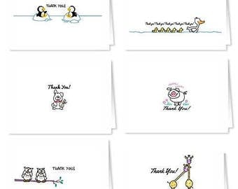 18 Assorted Thank You Note Cards - Blank Assorted Thank You Notes - Boxed Set Note Cards - 718-Penguin