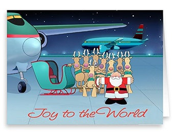 Airplane Christmas Card - Joy To The World - 18 Cards and Envelopes - Aviation Christmas Card - KX326
