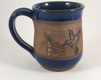 Hummingbird Mug, Pottery Coffee Cup, Stoneware Mug, Ceramic Cup, Ready to Ship