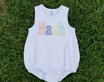 Monogrammed Baby Bubble, Personalized Baby Romper, Bubble Romper, Baby Sunsuit, Monogrammed  Bubble, Monogrammed Romper, Summer Romper