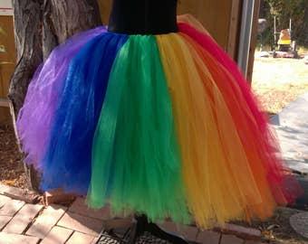 Rainbow tulle skirt, Rainbow colored tutu, Pride skirt, Rainbow bright tulle colored skirt.