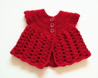 Handmade Made to Order Crochet Baby Girl Cardigan/Sweater Size Newborn 0-3 months/17 Inches in Lipstick Red, Newborn Baby Gift, Baby shower