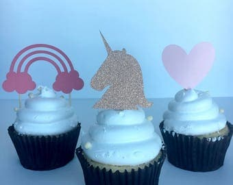 Unicorn Theme / First Birthday Decor / Rainbow / Unicorn Decor / Birthday Party Theme / Cupcake Toppers