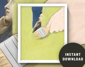 "Collage Print ""Painter Gazer"" • 8x10 Wall Art • Instant Digital Download!"