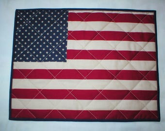 Placemats - Set of 4 Quilted American Flag Placemats - Cotton - Red, White and Blue - Table mats