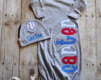 Personalized Baby Boy Baseball Gray Gown and Hat - Newborn Hospital Set - Infant Gown  Newborn Hat - Baby Shower - Red Blue White - Baby Boy