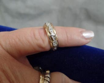 10 K Gold Fill and Sterling Band  Size 6 CZ stones marked 10K GF and Sterling - Nicely Done!