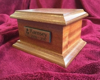 Solid Oak or Mahogany Wood Child Cremation Ashes Urn Casket & Personalised Plaque