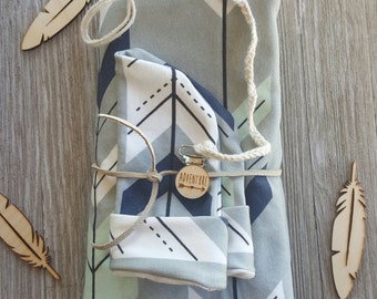 Organic swaddle blanket gift set, newborn baby gift set, lots of fabric choices  boy or gender neutral