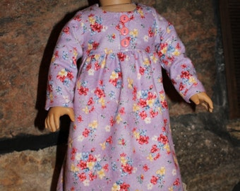 18 inch doll clothes - flannel nightgown - lavender flowered