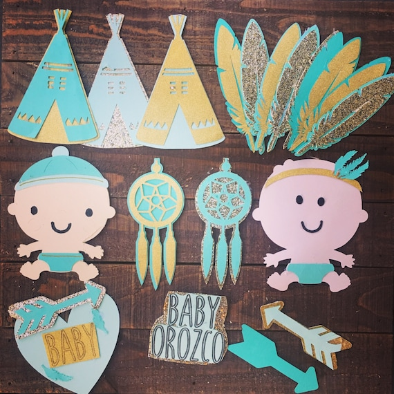 Boho baby shower paper craft cupcake and cake toppers for Baby shower paper crafts