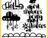 The April Showers cut file set includes 4 images that can be used for your scrapbooking and papercrafting projects.