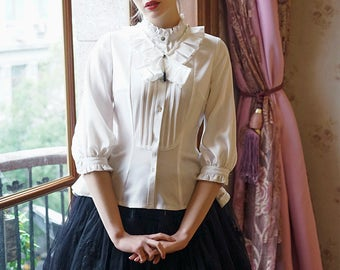 Chic Middle Length Sleeves Shirt Jabot Preppy Style Vintage Fashion Top