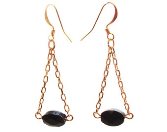 Goldfill Chain Dangle Earrings with Gemstones