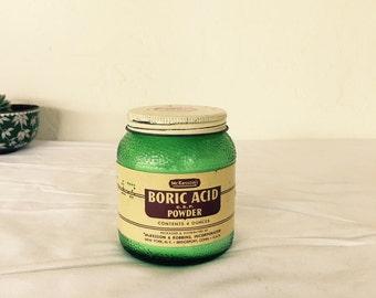 Vintage green glass jar boric acid~ephemera~healthcare~mckesson~antique glass~photo prop~decor item