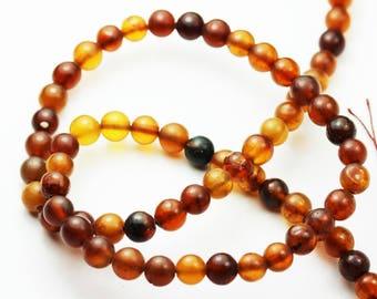 One full strand 100% Genuine Baltic Amber Beads, Center drilled Round Shape ,5mm Round-GEM1269