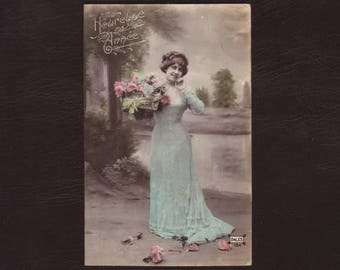 Woman in a blue dress, French photo postcard - Hand tinted rppc, lady, antique, vintage greeting card - 1911 (V5-67)