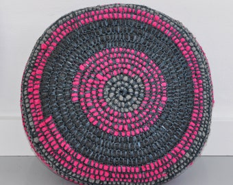 SALE 25 % now 75 euro! pouf, floor cushion, floor pillow, pillow, cushion, round, gray, pink, sustainable, upcycle