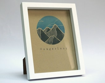 Hand-Printed Wanderlust Mountains Lino-Print Artwork - Framed Without Mount