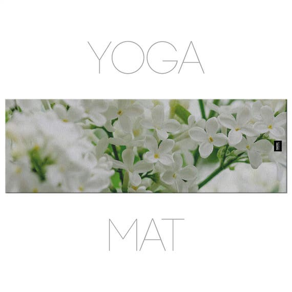 Floral Yoga Mat, White Flowers, Macro Photography, Spring Yoga, Nature Yoga Mat With Bag