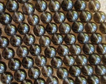 """High Quality Natural Gemstone Smoky Quartz 6mm Round Beads - 7.5"""" Half Strand"""