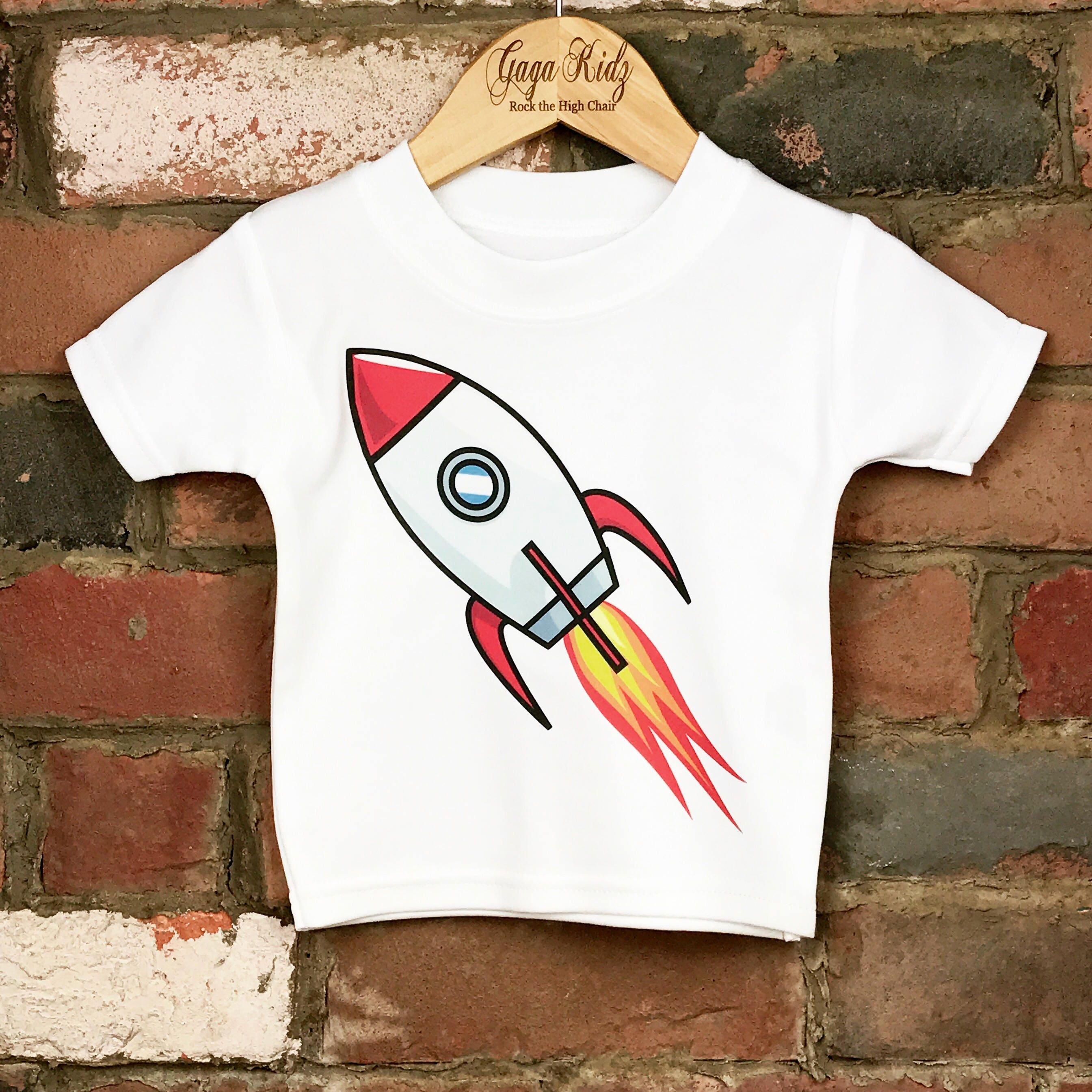 Rocket Ship Baby Tee Cool Baby Clothes Spaceship Kids Tee