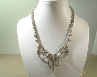 KRAMER! Beautiful Vintage Silver Tone Bib Chaton Diamente Rhinestone Choker Necklace Signed Kramer  DL# 2712