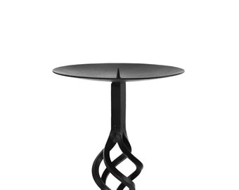 """Iron Candle Stand Holder Blacksmith Forged Metal Handmade 25"""" Toll 7"""" Plate"""
